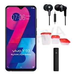 Picture of Vivo Mobile Y93 + Power Bank (or) Earphone + 3Pcs Plastic Modular Container Set