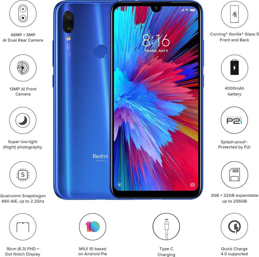 Buy Xiaomi Note 7s Blue 4gb Ram 64gb Storage Mobile